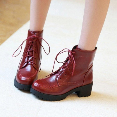Daily Lace-up Fall PU Round Boots On Sale_4