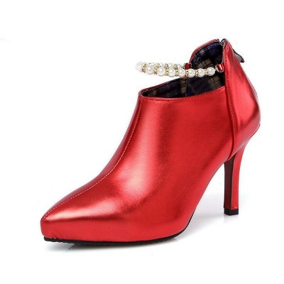 Silver Zipper Daily Elegant Stiletto Heel Pointed Toe Boots On Sale_9