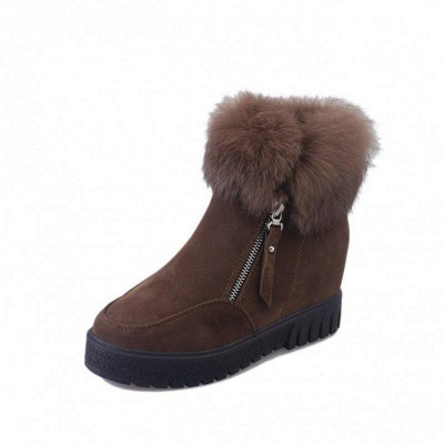 Zipper Fall Suede Chunky Heel Round Boots On Sale_7