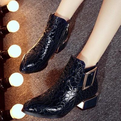 Zipper Chunky Heel Embossing Boots On Sale_6