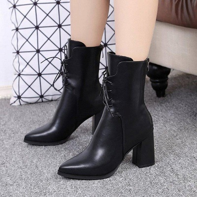 Lace-up Chunky Heel Daily Pointed Toe Elegant Boots On Sale_2