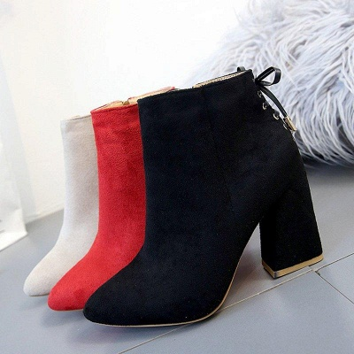 Chunky Heel Daily Lace-up Pointed Toe Zipper Boots On Sale_4