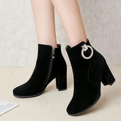 Suede Chunky Heel Working Square Boots On Sale_4