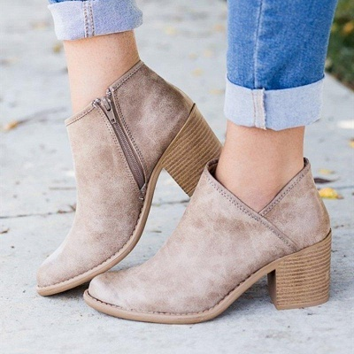 Womens Fashion Ankle Zipper Pointed Toe Chunky Booties On Sale_7