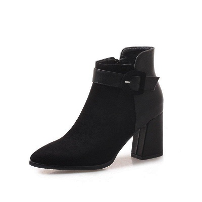 Daily Chunky Heel Suede Round Toe Boot On Sale_5