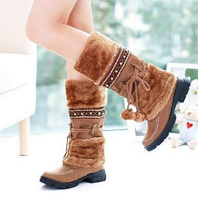 Fur Chunky Heel Suede Round Boots On Sale_2
