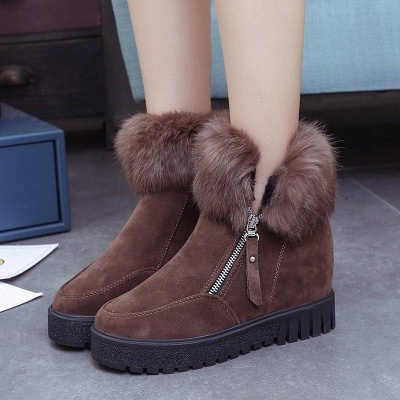 Zipper Fall Suede Chunky Heel Round Boots On Sale_5