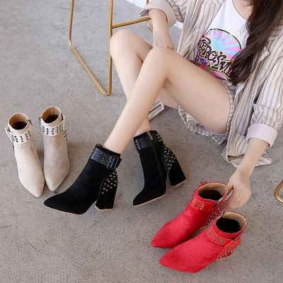 Suede Chunky Heel Daily Lace-up Rivet Boots On Sale_6