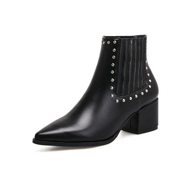 Chunky Heel Daily Pointed Toe Boots On Sale_4