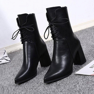 Lace-up Chunky Heel Daily Pointed Toe Elegant Boots On Sale_5