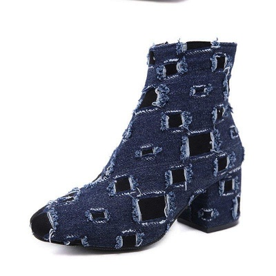 Daily Hollow-out Chunky Heel Round Toe Boots On Sale_4