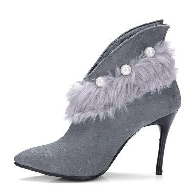 High Heel Zipper Suede Boot On Sale_5