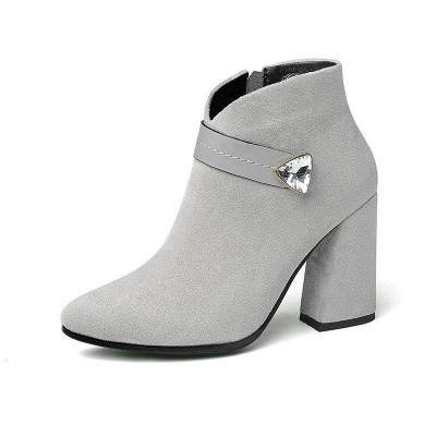 Zipper Chunky Heel Daily Suede Elegant Pointed Toe Boots On Sale_7