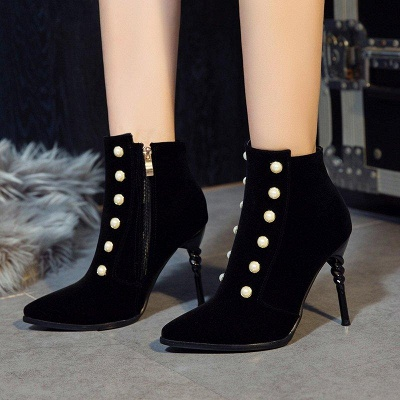 Suede Daily Stiletto Heel Pointed Toe Zipper Boots On Sale_6