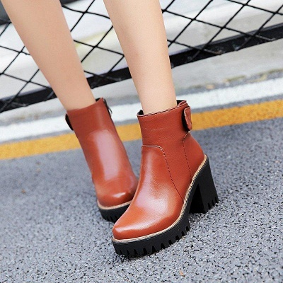 Daily Chunky Heel Zipper Round Boots On Sale_10