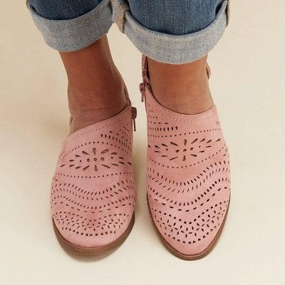Hollow-out Low Heel Summer Faux Suede Boot On Sale_20