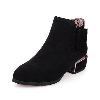 Chunky Heel Suede Button Boots On Sale_1