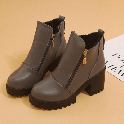 Zipper Chunky Heel Daily Round Toe Boots On Sale_1