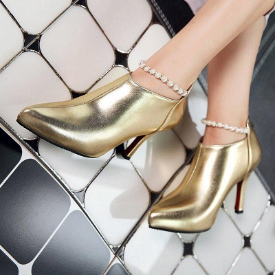 Silver Zipper Daily Elegant Stiletto Heel Pointed Toe Boots On Sale_7