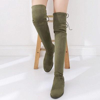 Suede Chunky Heel Buckle Boot On Sale_8