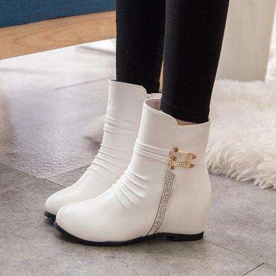 Daily Zipper PU Wedge Heel Round Toe Elegant Boots On Sale_6