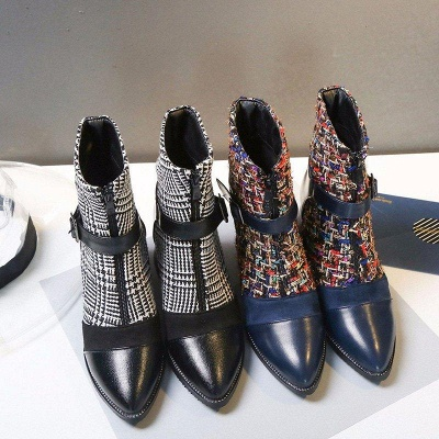 Daily Zipper Pointed Toe Buckle Chunky Boots On Sale_5