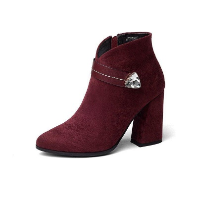 Zipper Chunky Heel Daily Suede Elegant Pointed Toe Boots On Sale_2