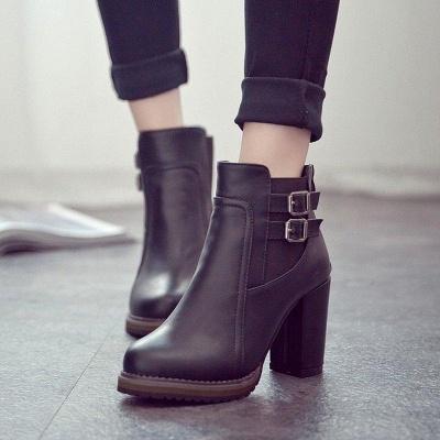 PU Buckle Round Toe Chunky Boots On Sale_3