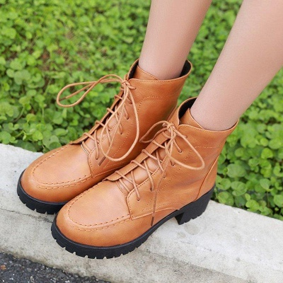 Daily Lace-up Fall PU Round Boots On Sale_5