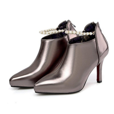 Silver Zipper Daily Elegant Stiletto Heel Pointed Toe Boots On Sale_2