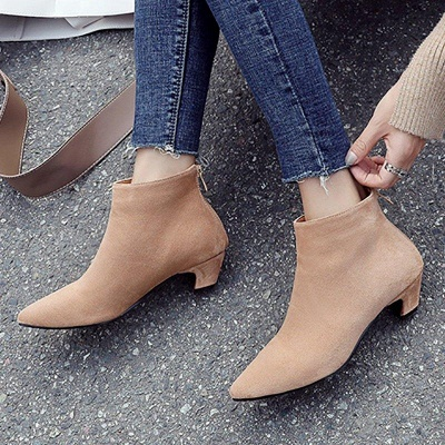 Chunky Heel Zipper Daily Pointed Toe Elegant Boots On Sale_9