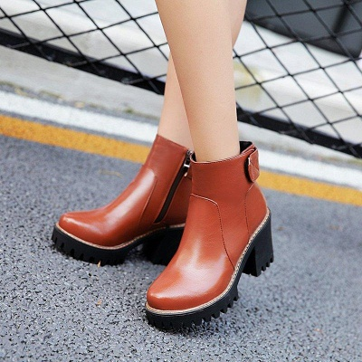 Daily Chunky Heel Zipper Round Boots On Sale_12