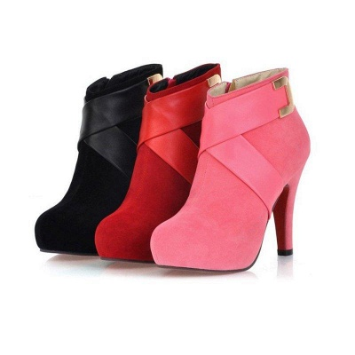 Stiletto Heel Zipper Suede Lace-up Cone Heel Round Boots On Sale_8