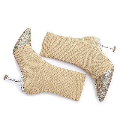 Daily Pointed Toe Cone Heel Knitted Fabric Boots On Sale_3