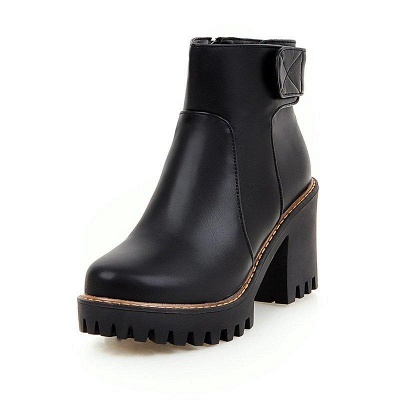 Daily Chunky Heel Zipper Round Boots On Sale_2