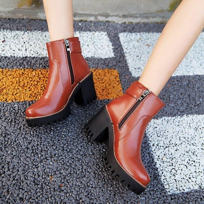 Daily Chunky Heel Zipper Round Boots On Sale_11