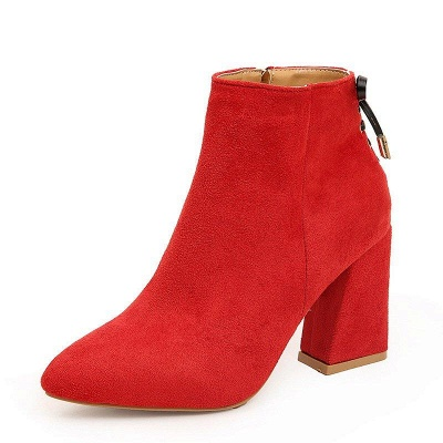 Chunky Heel Daily Lace-up Pointed Toe Zipper Boots On Sale_9