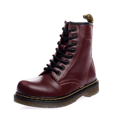 Chunky Heel Cowhide Leather Lace-up Boots On Sale_4