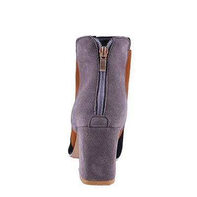 Zipper Daily Chunky Heel Pointed Toe Suede Boots On Sale_10