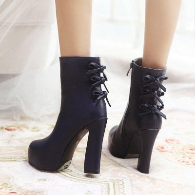 Daily Chunky Heel Zipper Tie Round Toe Boots On Sale_5