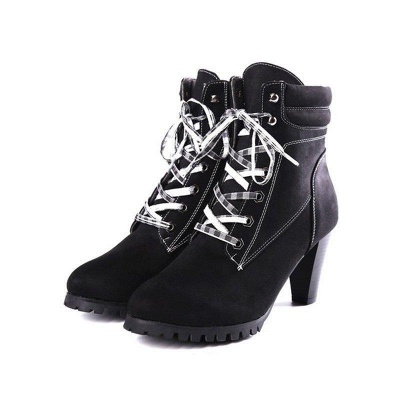 Women's Boots Brown Lace-Up Round Toe Elegant Chunky Heel Boots On Sale_5