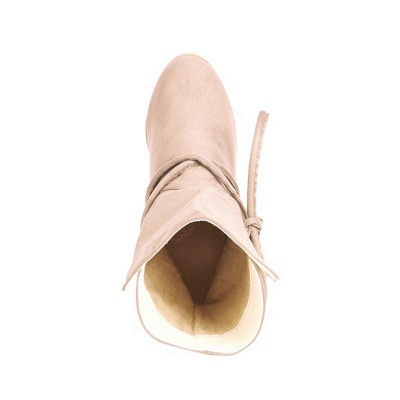 Women's Boots Lace-Up Chunky Heel Round Toe Elegant Apricot Boots On Sale_6