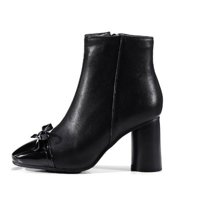 Daily Zipper Square Toe Bowknot Chunky Boots On Sale_8