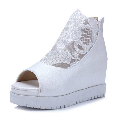 Zipper Hollow-out Wedge Heel Elegant Boots On Sale_4