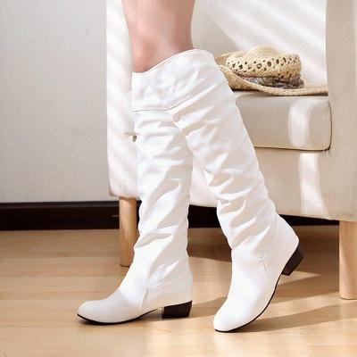 Chunky Heel Daily PU Round Boots On Sale_1