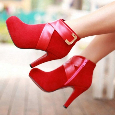 Stiletto Heel Zipper Suede Lace-up Cone Heel Round Boots On Sale_6