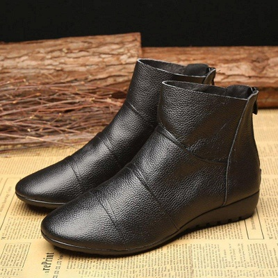 Daily Zipper Flat Heel Pointed Toe Boots On Sale_1