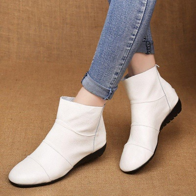 Daily Zipper Flat Heel Pointed Toe Boots On Sale_5