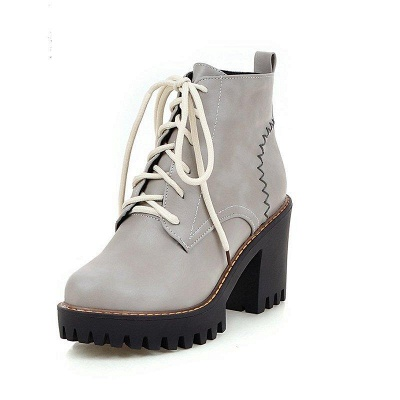 PU Lace-up Daily Round Toe Chunky Boots On Sale_5