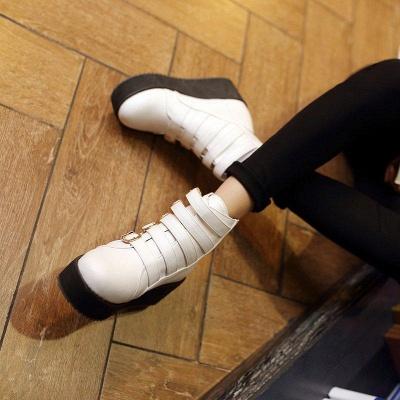 Women's Boots Black Round Toe Wedge Heel Boots On Sale_4